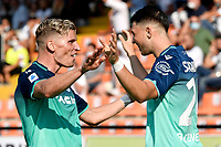 Lazar Samardzic of Udinese Calcio (r) celebrates with Jens Stryger Larsen after scoring the victory goal of 0-1 during the Serie A football match between Spezia Calcio and Udinese Calcio at Alberto Picco stadium in La Spezia (Italy), September 12th, 2021. Photo Andrea Staccioli / Insidefoto