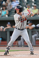 Second baseman Greg Cullen (18) of the Rome Braves bats in a game against the Columbia Fireflies on Saturday, August 17, 2019, at Segra Park in Columbia, South Carolina. Rome won, 4-0. (Tom Priddy/Four Seam Images)