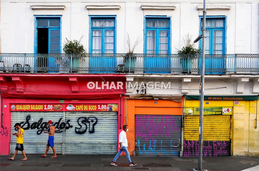 Fachada de casarão na Rua Maua, São Paulo. 2021. Foto Juca Martins