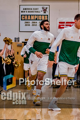 16 March 2019: University of Vermont Catamount Forward Anthony Lamb, a Junior from Toronto, Ontario, trots onto the court from the locker room prior to facing the UMBC Retrievers in the America East Championship Game at Patrick Gymnasium in Burlington, Vermont. The Catamounts defeated the Retrievers 66-49, avenging their loss against the same team in last years' Championship Game. Mandatory Credit: Ed Wolfstein Photo *** RAW (NEF) Image File Available ***