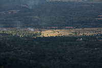 Deforested mountains in the central highlands of Sri Lanka.