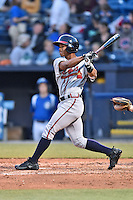 Rome Braves right fielder Ray-Patrick Didder (11) swings at a pitch during a game against the Asheville Tourists at McCormick Field on April 14, 2016 in Asheville, North Carolina. The Tourists defeated the Braves 5-4. (Tony Farlow/Four Seam Images)