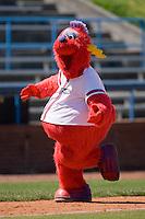 "Winston-Salem Dash mascot ""Bolt"" runs the bases at Wake Forest Baseball Park May 10, 2009 in Winston-Salem, North Carolina. (Photo by Brian Westerholt / Four Seam Images)"