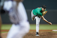 Down East Wood Ducks starting pitcher Jason Bahr (18) follows through on his delivery against the against the Winston-Salem Dash at BB&T Ballpark on May 10, 2019 in Winston-Salem, North Carolina. The Wood Ducks defeated the Dash 9-2. (Brian Westerholt/Four Seam Images)