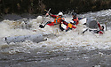 26/12/15<br /> <br /> The Flintstones sunk like a stone.<br /> <br /> Dozens of competitors are tossed into the Derwent as the extremely swollen river launches rafts, uncontrollably, down a weir along the route of the Boxing Day Race at Matlock Bath in Derbyshire.<br /> <br /> <br /> All Rights Reserved: F Stop Press Ltd. +44(0)1335 418365   www.fstoppress.com.