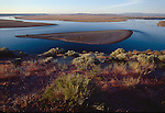 Hanford Reach National Monument, Columbia River: View from White Bluffs towards Hanford Site from Wahluke Slope, Washington State,.