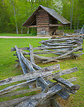 Great Smoky Mts. National Park, TN/NC<br /> Corn crib and split rail fence at the John Cable farm site in Cades Cove