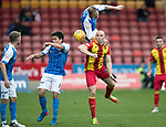 Partick Thistle v St Johnstone…28.10.17…  Firhill…  SPFL<br />Steven Anderson climbs all over Connor Sammon<br />Picture by Graeme Hart. <br />Copyright Perthshire Picture Agency<br />Tel: 01738 623350  Mobile: 07990 594431
