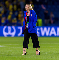 LE HAVRE,  - JUNE 20: USWNT team coordinator Molly Downtain walks on the field during a game between Sweden and USWNT at Stade Oceane on June 20, 2019 in Le Havre, France.