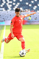 KANSAS CITY, KS - JULY 15: Stephen Eustaquio #7 of Canada takes a free kick during a game between Canada and Haiti at Children's Mercy Park on July 15, 2021 in Kansas City, Kansas.