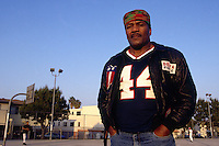 LOS ANGELES, CA - Former Cleveland Browns great Jim Brown poses for a portrait outdoors in Los Angeles, California in 1991. Photo by Brad Mangin
