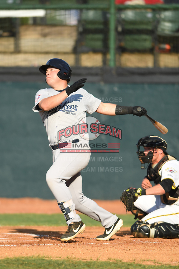Pulaski Yankees Spencer Henson (72) follows through on his swing against the Bristol Pirates at Boyce Cox Field on July 8, 2019 in Bristol, Virginia. The Yankees defeated the Pirates 5-0. (Tracy Proffitt/Four Seam Images)