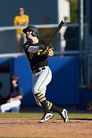 Brendt Citta (17) of the Bristol Pirates follows through on his swing against the Danville Braves at American Legion Post 325 Field on July 1, 2018 in Danville, Virginia. The Braves defeated the Pirates 3-2 in 10 innings. (Brian Westerholt/Four Seam Images)