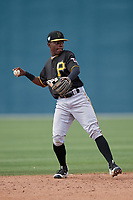 Pittsburgh Pirates Edgar Barrios (16) during a minor league Spring Training game against the Philadelphia Phillies on March 13, 2019 at Pirate City in Bradenton, Florida.  (Mike Janes/Four Seam Images)