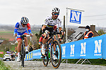 World Champion Julian Alaphilippel (FRA) Elegance-Quick Step and Valentin Madouas (FRA) Groupama-FDJ climb the Paterberg during the 2021 Tour of Flanders running 254.3km from Antwerp to Oudenaarde, Belgium. 4th April 221.  <br /> Picture: Serge Waldbillig | Cyclefile<br /> <br /> All photos usage must carry mandatory copyright credit (© Cyclefile | Serge Waldbillig)