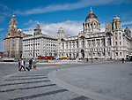 A view of the three graces at the Pier Head in Liverpool. The Royal Liver Building , the Cunard Building and the former offices of the Mersey Docks and Harbour Board