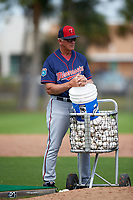Minnesota Twins coach Phil Roof (95) during a Spring Training practice on March 1, 2016 at Hammond Stadium in Fort Myers, Florida.  (Mike Janes/Four Seam Images)