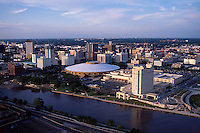 Aerial view of the skyline of downtown Witchita, Kansas.