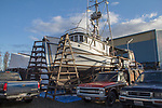 Port Townsend, Boat Haven Marina, fishing boat Alaska, fishing vessel, rigged for long lining, on the hard, Port of Port Townsend, Olympic Peninsula, Puget Sound, Washington State, Pacific Northwest, USA,