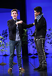 "Andrew Barth Feldman takes his final ""Dear Evan Hansen"" bows and ""Passes the Polo"" to Jordan Fisher at the Music Box Theatre on January 26, 2020 in New York City."