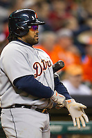 Detroit Tigers first baseman Prince Fielder (28) on deck during the MLB baseball game against the Houston Astros on May 3, 2013 at Minute Maid Park in Houston, Texas. Detroit defeated Houston 4-3. (Andrew Woolley/Four Seam Images).