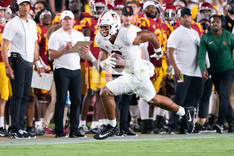 LOS ANGELES, CA - SEPTEMBER 11: Elijah Higgins during a game between University of Southern California and Stanford Football at Los Angeles Memorial Coliseum on September 11, 2021 in Los Angeles, California.