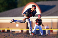 Lowell Spinners pitcher Javier Rodriguez (46) delivers a pitch during a game against the Batavia Muckdogs on August 12, 2015 at Dwyer Stadium in Batavia, New York.  Batavia defeated Lowell 6-4.  (Mike Janes/Four Seam Images)