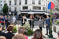 Florence BERTHOUT, Pia MOUSTAKI, Anne HIDALGO, Bruno JULLIARD - Inauguration Place Georges Moustaki - 23/5/2017 - Paris - France