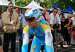 Maxim Iglinskiy (KAZ) Astana waits his turn during the Prologue of the 99th edition of the Tour de France 2012, a 6.4km individual time trial starting in Parc d'Avroy, Liege, Belgium. 30th June 2012.<br /> (Photo by Eoin Clarke/NEWSFILE)