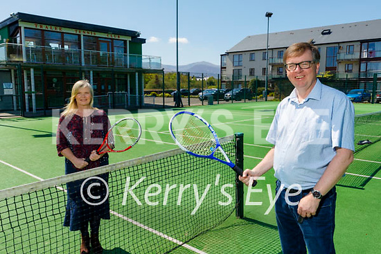 Tralee Tennis Club chairman John O'Carroll (front right) and treasurer Kate Guerin at the Tralee tennis Club on Monday.