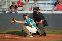 Mooresville Spinners catcher Davis Turner (21) (Lenoir Rhyne) sets a target as home plate umpire Britton Kennerly looks on during the game against the Concord A's at Moor Park on July 31, 2020 in Mooresville, NC. The Spinners defeated the Athletics 6-3 in a game called after 6 innings due to rain. (Brian Westerholt/Four Seam Images)