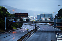 State Highway One urban motorway into Wellington CBD during lockdown for COVID19 pandemic in Wellington, New Zealand on Thursday, 9 April 2020. Photo: Dave Lintott / lintottphoto.co.nz