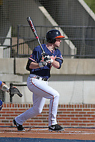 University of Virginia Cavaliers infielder Branden Cogswell #7 at bat during a game against the University of Kentucky Wildcats at Brooks Field on the campus of the University of North Carolina at Wilmington on February 14, 2014 in Wilmington, North Carolina. Kentucky defeated Virginia by the score of 8-3. (Robert Gurganus/Four Seam Images)