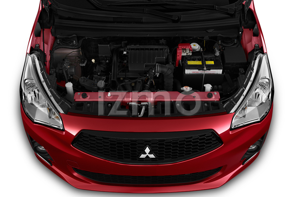 Car Stock 2020 Mitsubishi Mirage-G4 SE 4 Door Sedan Engine  high angle detail view