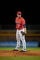 Jacksonville Jumbo Shrimp relief pitcher Kolton Mahoney (8) during a Southern League game against the Mississippi Braves on May 4, 2019 at Trustmark Park in Pearl, Mississippi.  Mississippi defeated Jacksonville 2-0.  (Mike Janes/Four Seam Images)