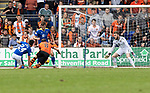St Johnstone v Dundee United…22.08.21  McDiarmid Park    SPFL<br />Peter Pawlett scores to put united 1-0 up<br />Picture by Graeme Hart.<br />Copyright Perthshire Picture Agency<br />Tel: 01738 623350  Mobile: 07990 594431