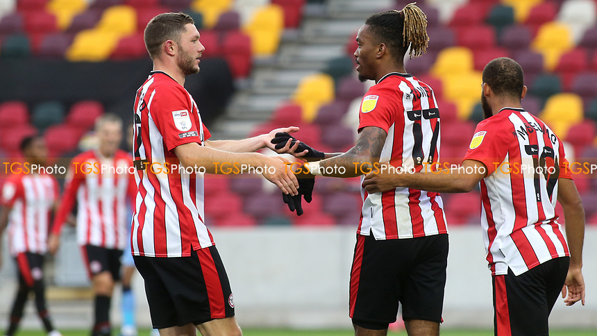 Ivan Toney celebrates scoring Brentford's second goal with Henrik Dalsgaard during Brentford vs Coventry City, Sky Bet EFL Championship Football at the Brentford Community Stadium on 17th October 2020