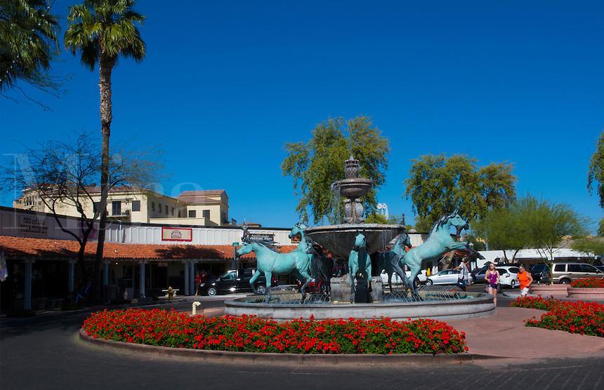 Old Scottsdale Arizona horse statue fountain tourist area 5th Avenue and Marshall Way near Phoenix
