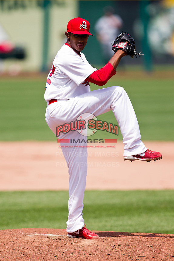 Sam Freeman (12) of the Springfield Cardinals winds up during a game against the Arkansas Travelers at Hammons Field on May 8, 2012 in Springfield, Missouri. (David Welker/ Four Seam Images)