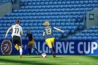 20200304 Faro , Portugal : German midfielder Alexandra Popp (11) and Swedish Amanda Ilestedt (13) pictured during the female football game between the national teams of Germany and Sweden on the first matchday of the Algarve Cup 2020 , a prestigious friendly womensoccer tournament in Portugal , on wednesday 4 th March 2020 in Faro , Portugal . PHOTO SPORTPIX.BE | STIJN AUDOOREN