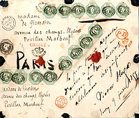 BNPS.co.uk (01202 558833)<br /> Pic: Spink/BNPS<br /> <br /> A parcel label has sold for a staggering £17,000 - as it may have carried Victor Hugo's Les Miserables manuscript.<br /> <br /> The legendary French writer sent the package, which he signed and dated, while in exile in Jersey in 1855.<br /> <br /> He penned his epic play about French social unrest during his two decades on the Channel Islands.