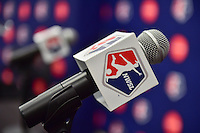 New York, NY - Thursday February 02, 2017: NWSL microphone flag prior to a joint NWSL and A+E Networks press conference at the A+E headquarters.