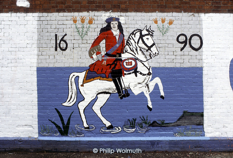 Loyalist mural in West Belfast commemorating the victory of William of Orange at the Battle of the Boyne.