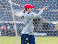 CHICAGO, IL - OCTOBER 5: Jill Ellis of the United States talks to her team at Soldier Field on October 5, 2019 in Chicago, Illinois.