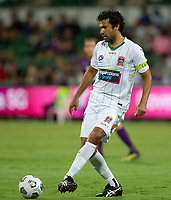 27th March 2021; HBF Park, Perth, Western Australia, Australia; A League Football, Perth Glory versus Newcastle Jets; Nikolai Topor-Stanley of the Newcastle Jets passes the ball out of defence