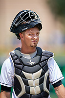Indianapolis Indians catcher Hunter Owen (2) during an International League game against the Syracuse Mets on July 17, 2019 at Victory Field in Indianapolis, Indiana.  Syracuse defeated Indianapolis 15-5  (Mike Janes/Four Seam Images)