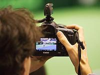 06-04-13, Tennis, Rumania, Brasov, Daviscup, Rumania-Netherlands,Jan-Willem de Lange at work