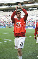 Brad Evans acknowledges fans as he walks onto the field. USA defeated Grenada 4-0 during the First Round of the 2009 CONCACAF Gold Cup at Qwest Field in Seattle, Washington on July 4, 2009.