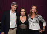 """Mo Rocca, Jennifer Simard and Nell Benjamin backstage after """"Stigma"""" on September 9, 2018 at the Green Room 42 in New York City."""