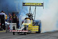 Jun. 19, 2011; Bristol, TN, USA: NHRA top fuel dragster driver Morgan Lucas during eliminations at the Thunder Valley Nationals at Bristol Dragway. Mandatory Credit: Mark J. Rebilas-